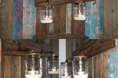 Wanddeko aus Altholz mit Windlicht  Dekoration und Accessoire