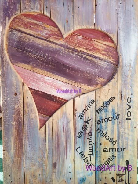 Wanddeko - Herz mit Liebe international