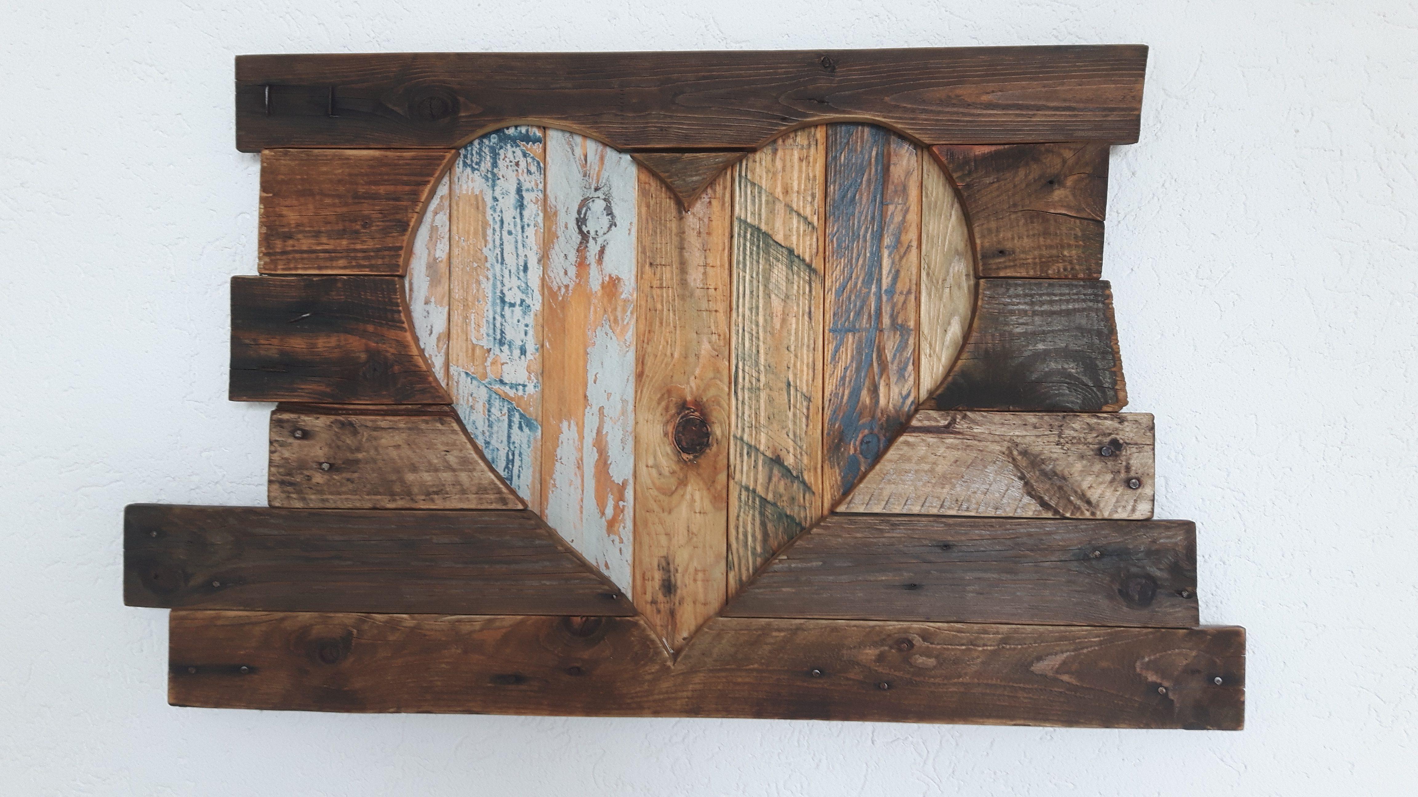 Ein buntes herz aus altholz und palette   woodart by b