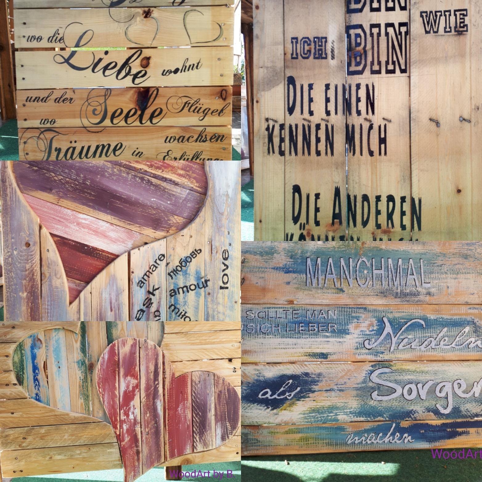 Wandbild_Wanddeko_Zuhause ist_Nudeln und Sorgen aus Einwegpalette_Ich bin wie ich bin_Herz mit Liebe international_Doppelherz aus Einwegpalette